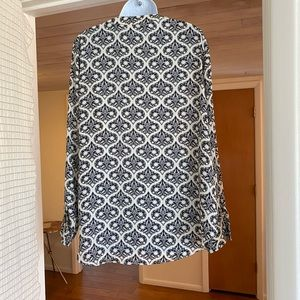 Rose & Olive Tunic, navy blue and cream print